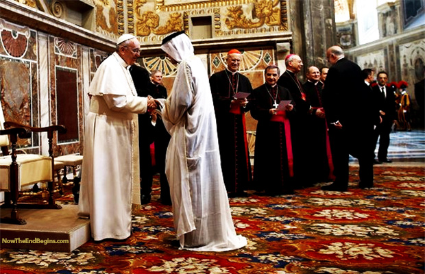 HISTORIC FIRST EVER ISLAMIC PRAYERS AT VATICAN SIGNALS START OF ONE WORLD RELIGION!