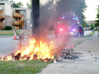 MICHAEL BROWN MEMORIAL SET ON FIRE! – [RAW FOOTAGE]