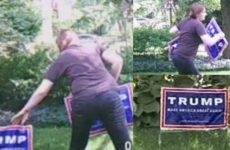Liberal Tries To Steal Man's Trump Sign, Gets NASTY Surprise Instead [VIDEO]