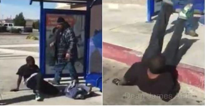 Black THUG Sucker Punches Homeless White Man, Finds Out Who He's Messing With [VID]