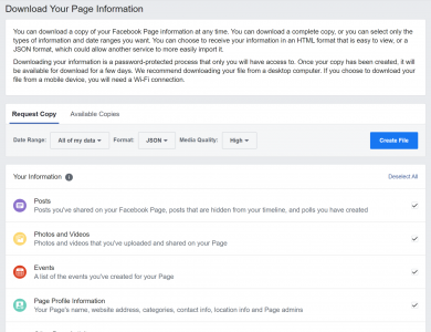How to download facebook page data in 2021