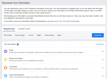 How to download Facebook profile