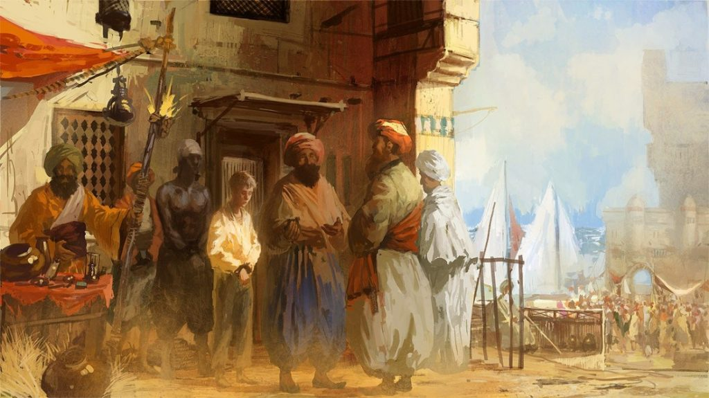 Painting shows a young pre-teen white European male chained and lead with a black slave to the slave market by their Muslim slave captors.
