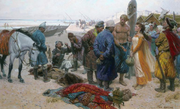 A bare-chested Viking offers a slave girl to a Persian merchant in an artist?s rendering of a scene from Bulgar, a trading town on the Volga River.
